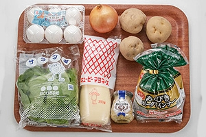 ソーセージと卵のマスタードポテト