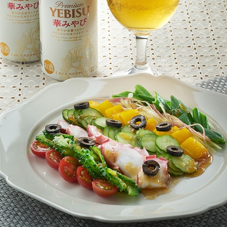 たこと夏野菜のレインボーサラダ
