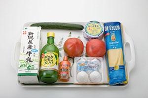 トマトとツナの冷製パスタ&レモンラッシー