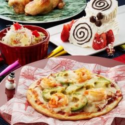 えびのクリームソースピザでパーティー