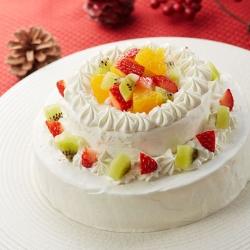 クリスマスのフルーツ2段ケーキ