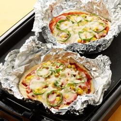 ホットプレートでホイル焼きミックスピザ