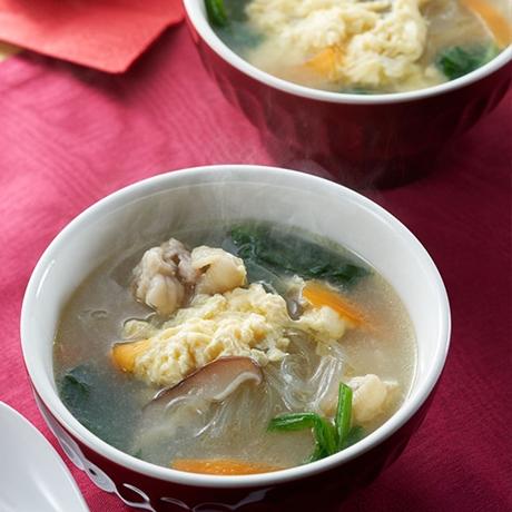 ごろっとチキンの春雨中華スープ