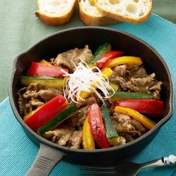 ズッキーニと牛肉のオイルソース炒め