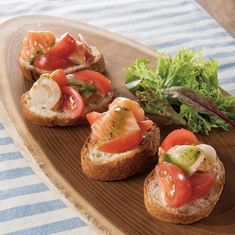 フルティカトマトとサーモンとベビーほたてのechigo salad