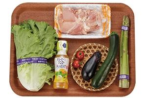 鶏肉とズッキーニとなすのECHIGO salad