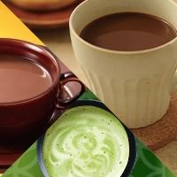 カカオ香るミルクココア、カカオ香るハイカカオココア、抹茶香るまろやかラテ