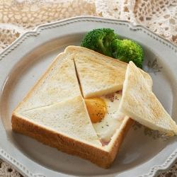 ベーコンエッグのチーズフォンデュトースト