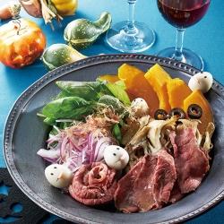 かぼちゃと舞茸とローストビーフのECHIGO salad