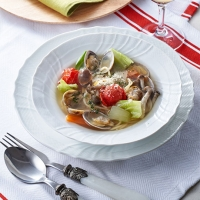春野菜とあさりのスープパスタ