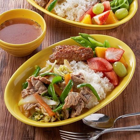 肉巻きこんにゃくと野菜炒めプレート