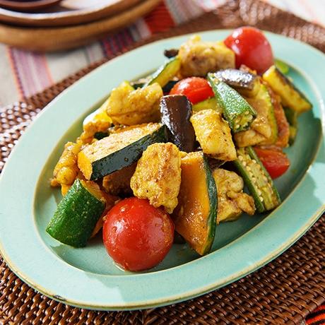 夏野菜とチキンのサブジ風