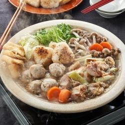 焼きおにぎりの鶏鍋