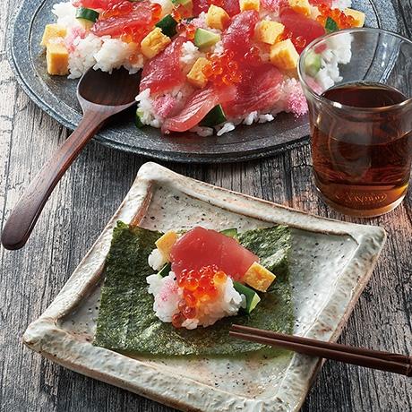 巻いて食べる鉄火ちらし寿司
