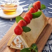 いちごの簡単巻かないロールケーキ