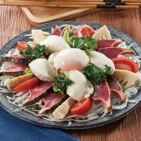 かつおたたきと豆腐のピリ辛カルパッチョ風