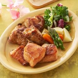 だし香る鮭と鶏肉の漬け照り焼き
