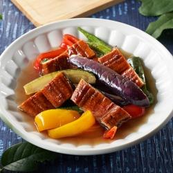 夏野菜とうなぎ蒲焼の揚げ浸し